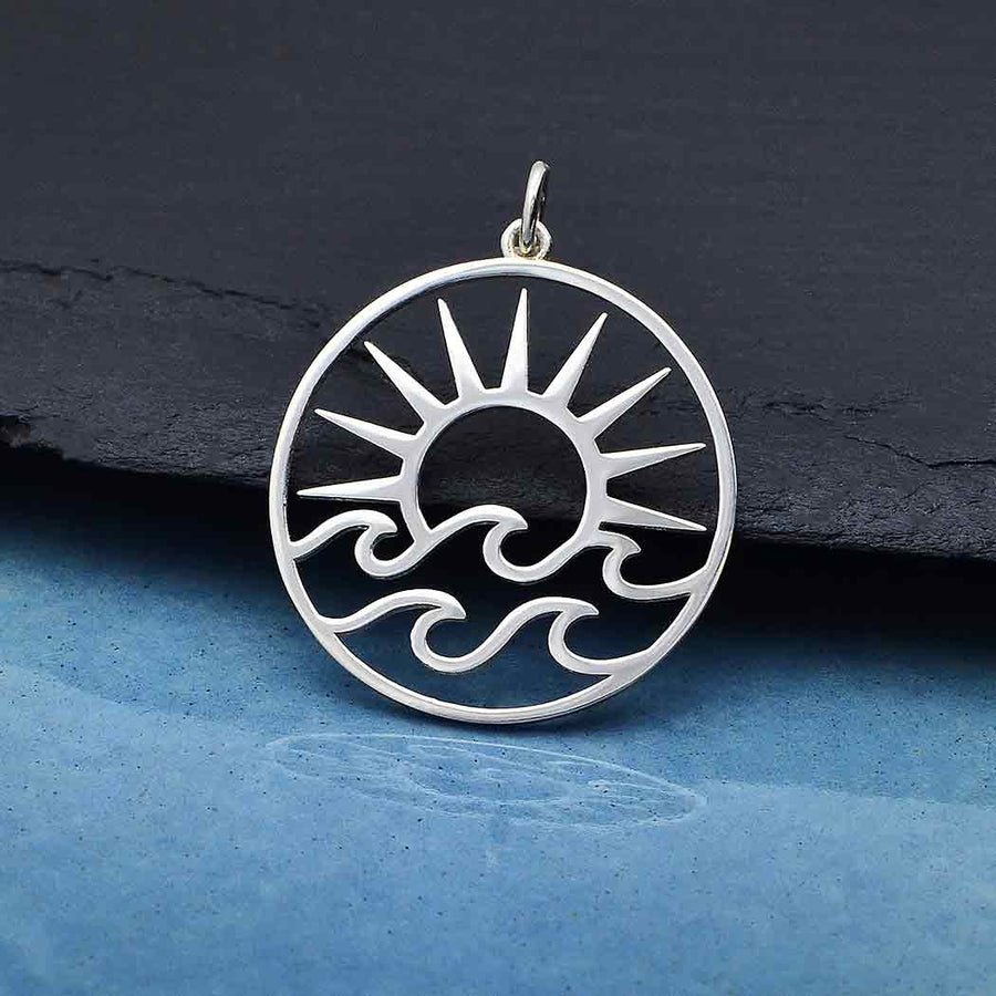 Sterling Silver Openwork Sun Pendant with Waves