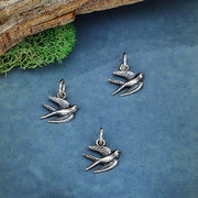 Sterling Silver Swallow Charm - Poppies Beads n' More