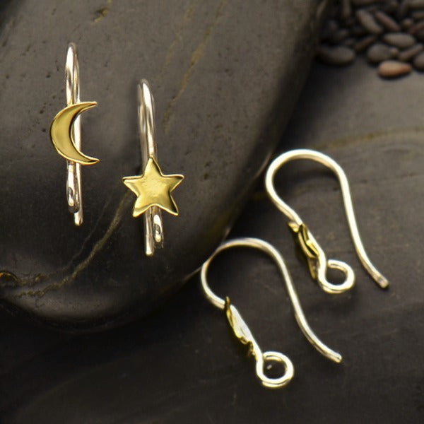 Sterling Silver Star and Moon Hook Earring with Bronze - Poppies Beads n' More