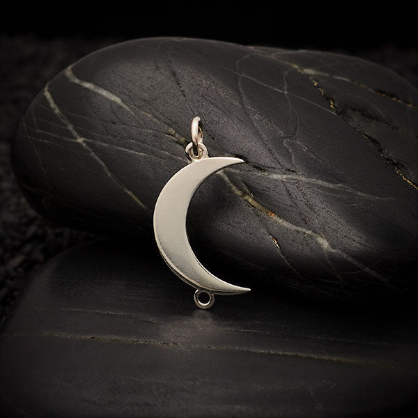 Sterling Silver Vertical Crescent Moon Link