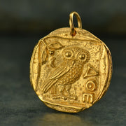 Ancient Coin Charm with Athena's Owl,