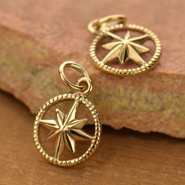 Compass Charm in Circle Frame,