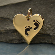 Heart Charm with Etched Footprints, - Poppies Beads n' More