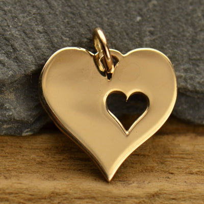 Heart Charm with One Heart Cutout