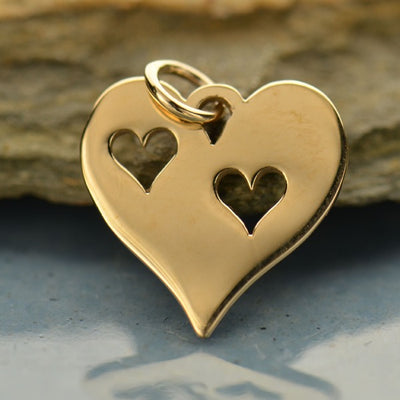 Heart Charm with Two Heart Cutouts