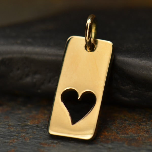 Rectangle Charm with Heart Cutout,