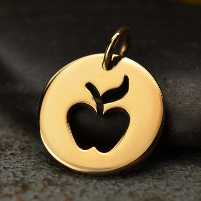 Round Charm with Apple Cutout