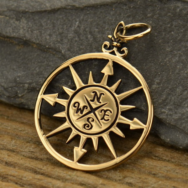 Compass Rose Pendant, - Poppies Beads n' More