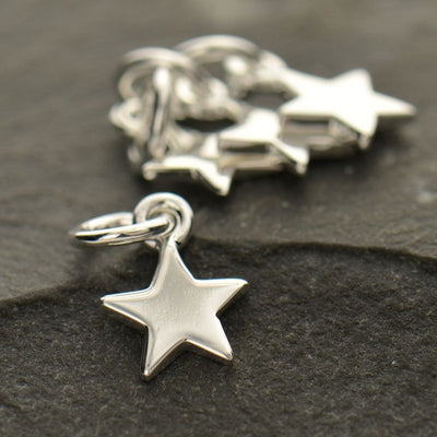 Tiny Sterling Silver Small Star Charm - Poppies Beads n' More