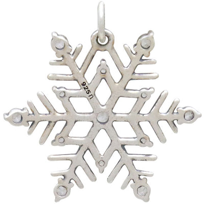 Sterling Silver Snowflake Pendant with Nano Gems