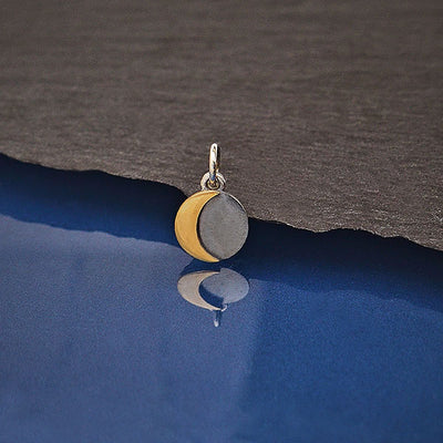 Mixed Metal Silver and Bronze Moon Charm