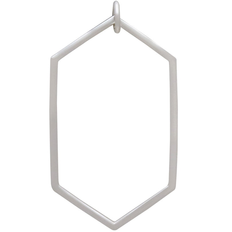 Sterling Silver Long Hexagon Link - Poppies Beads n' More