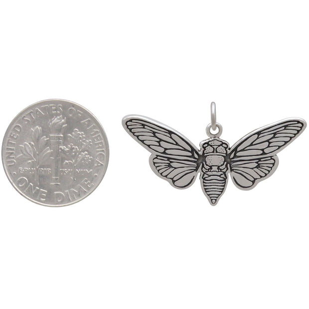 Sterling Silver Flat Cicada Pendant - Poppies Beads n' More