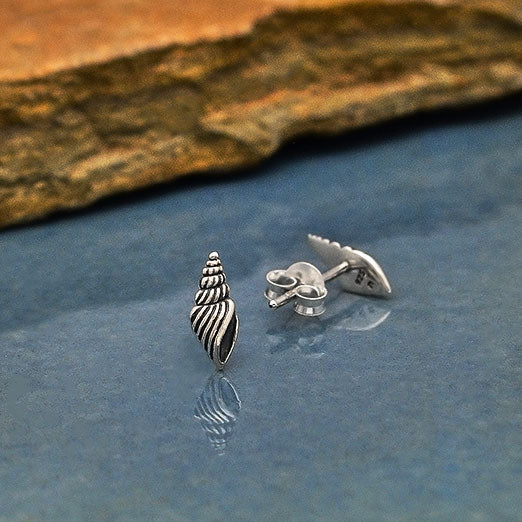 Sterling Silver Seashell Post Earrings - Poppies Beads n' More