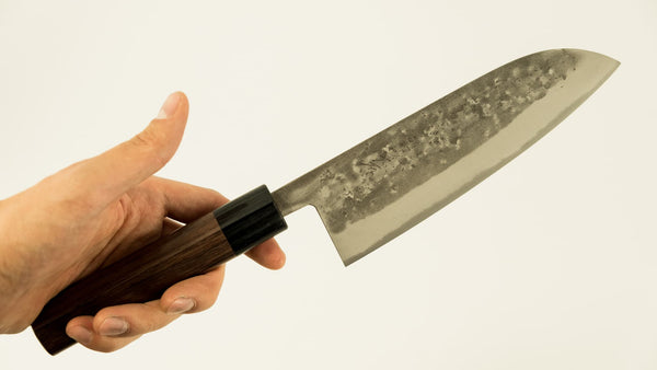 Ohishi Blue #2 Stainless Clad Nashiji Wa-Santoku 165mm Rosewood Handle