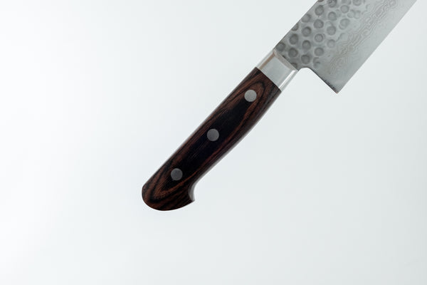 Hitohira HG Tsuchime Damascus Santoku 185mm Imitation Mahogany Handle