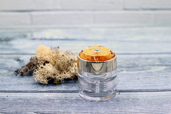 DIY PAK-Limited Edition - Double-Decker Jar- Clear w/Gold Lid - For Cream or Powder-Make your own professional makeup/cosmetics