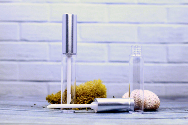 DIY PAK-Lip Gloss Tube - Classic Round - Matte Silver-Make your own professional makeup/cosmetics