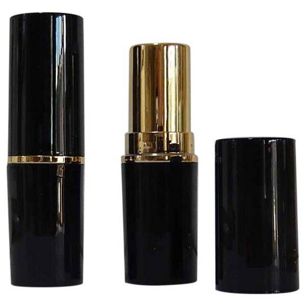 DIY PAK-Lipstick Case - Shiny Black/Gold Round 12.7 Cup-Make your own professional makeup/cosmetics