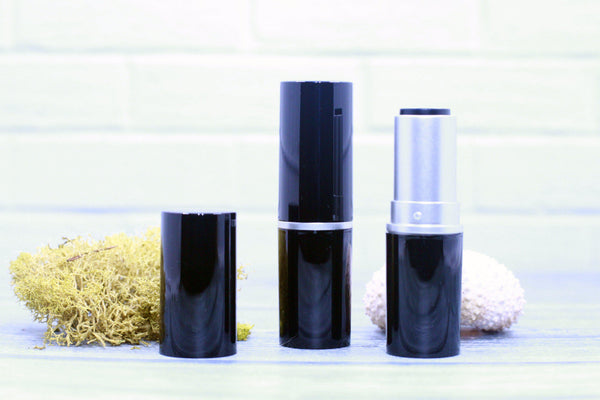 DIY PAK-Lipstick Case - Shiny Black/Silver Round 12.7 Cup-Make your own professional makeup/cosmetics