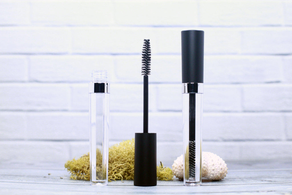 DIY PAK-Mascara Tube - Fancy w/Shiny Collar - Black/Silver-Make your own professional makeup/cosmetics