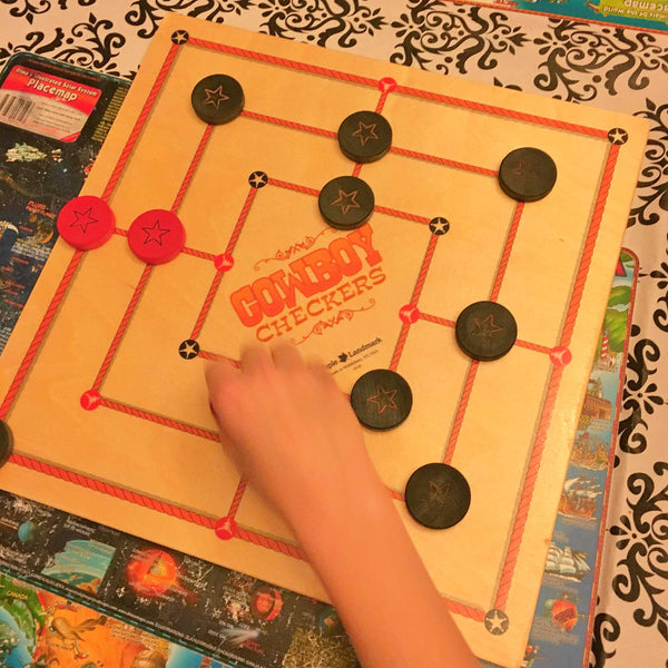 Cowboy Checkers (Nine Men's Morris) Math Games and Puzzles - Science & Engineering Toy