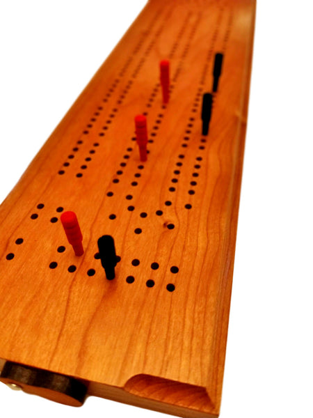 Cribbage Board - Deluxe - Cherry (Premium) - Made in USA  - Science & Engineering Toy