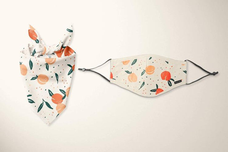 Face Mask and Dog Bandana Set Orange - Sir Dogwood