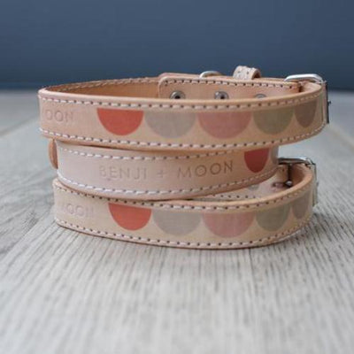 Pastel Moon Leather Collar - Sir Dogwood