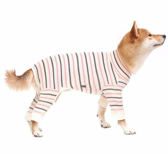 Ivory & Pink All-In-One Striped Onesie - Sir Dogwood