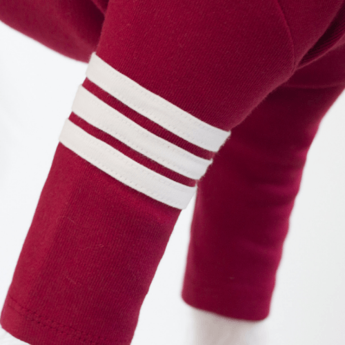 Stripe Point Turtleneck Burgundy