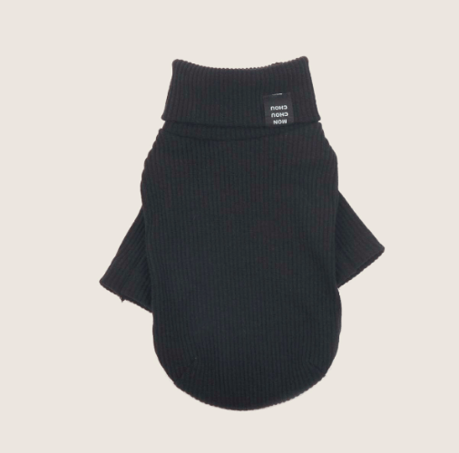 Daily Ribbed Turtleneck Top Black