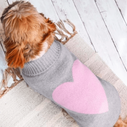 Grey Love Heart Sweater - Sir Dogwood