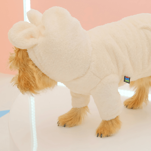Teddy Bear Fur Hoodie Cream - Sir Dogwood