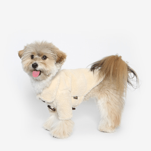 Fleece Duffle Coat Ivory - Sir Dogwood