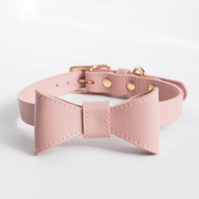 Bow Leather Collar Pink - Sir Dogwood