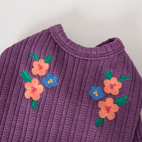 Floral Embroidered Cardigan Purple - Sir Dogwood