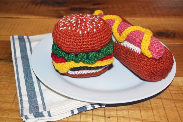 Hand Knit Hamburger Toy - Sir Dogwood