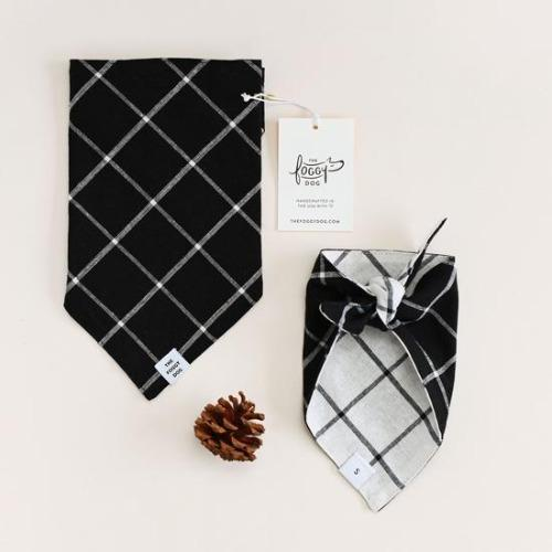 Windowpane Check Black Dog Bandana - Sir Dogwood