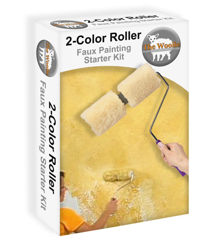 The Woolie Original Dual 2 Color Split Roller Faux Painting Beginner Starter Kit Sheepskin Lambswool Dual Roller