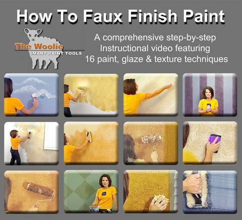 the Woolie how-to instruction video for steps tips and tricks to learn how the best way and the easiest way to faux finish paint to get a cool paint technique for walls house painting brushes paint rollers faux glazing painting instruction for Woolie roller
