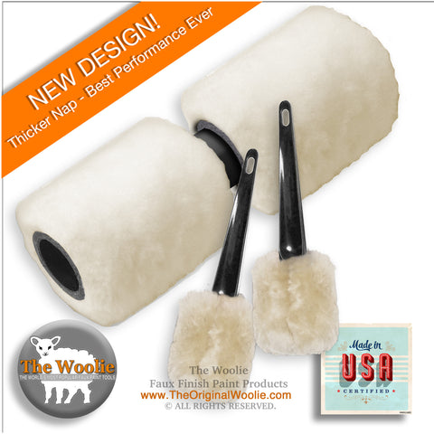 The Woolie Dual 2-Color Split Roller and Little Woolie COMBO Faux Finish Natural Sheepskin/Lambswool Painting Set