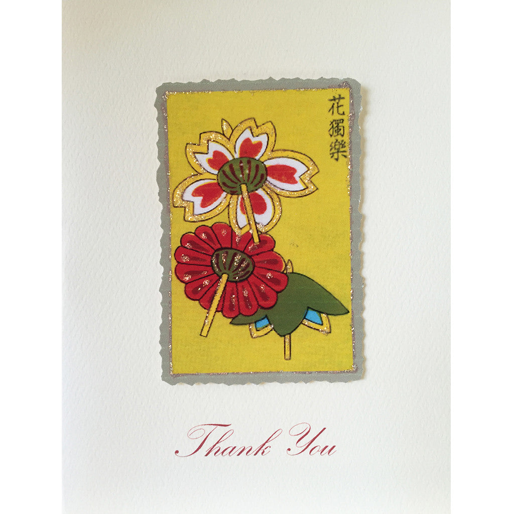 Greeting Card Asian Flowers Thanks - Lumia Designs
