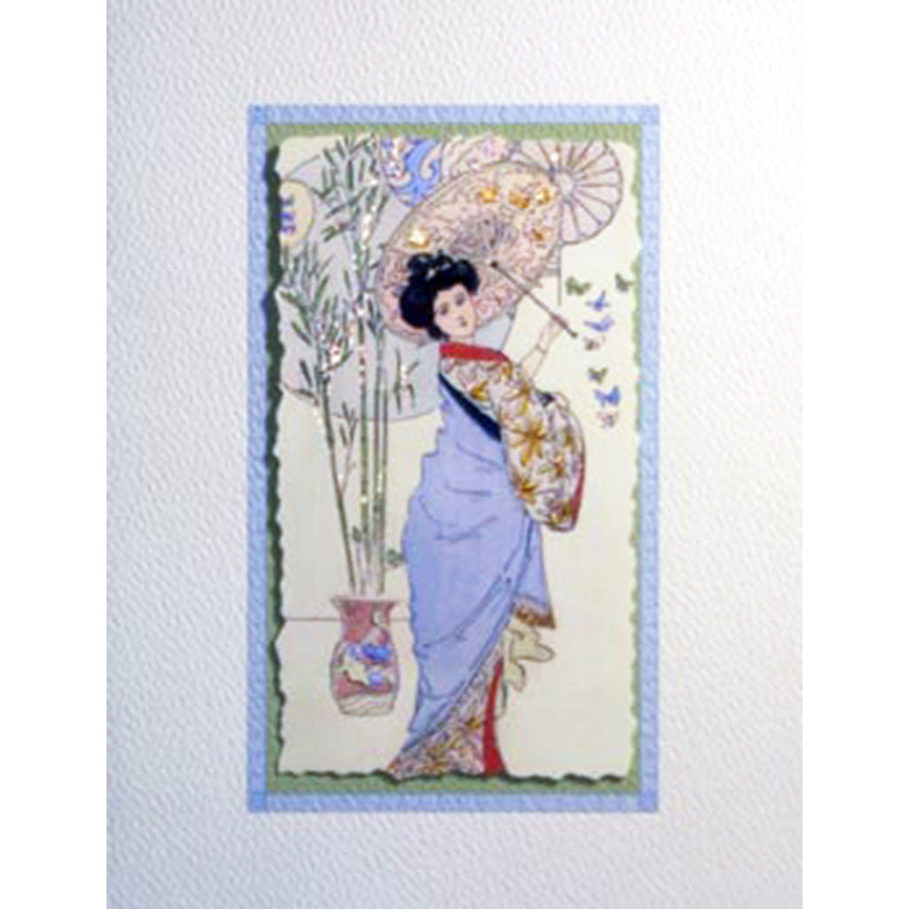 Greeting Card Geisha Parasol - Lumia Designs