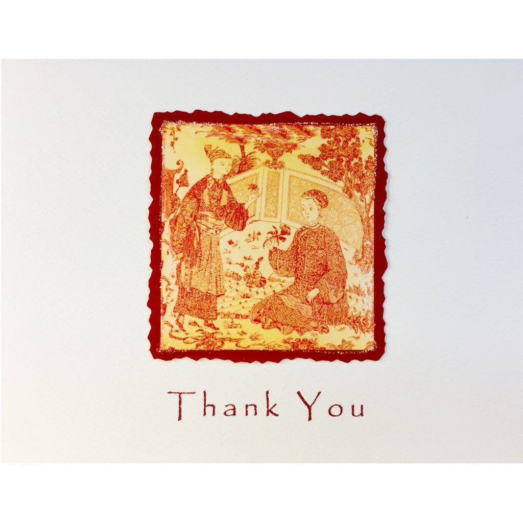 Asian Toile Thank You Card
