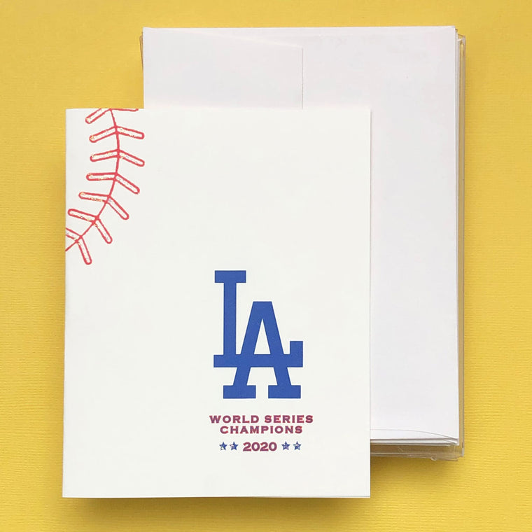 LA Dodgers 2020 Champs Baseball Boxed Note Cards