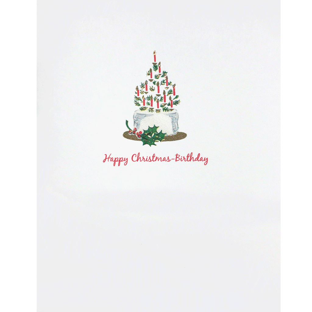 Christmas-Birthday Card with tree and candles cake. Hand embellished with fine glitter. Lumia Designs.