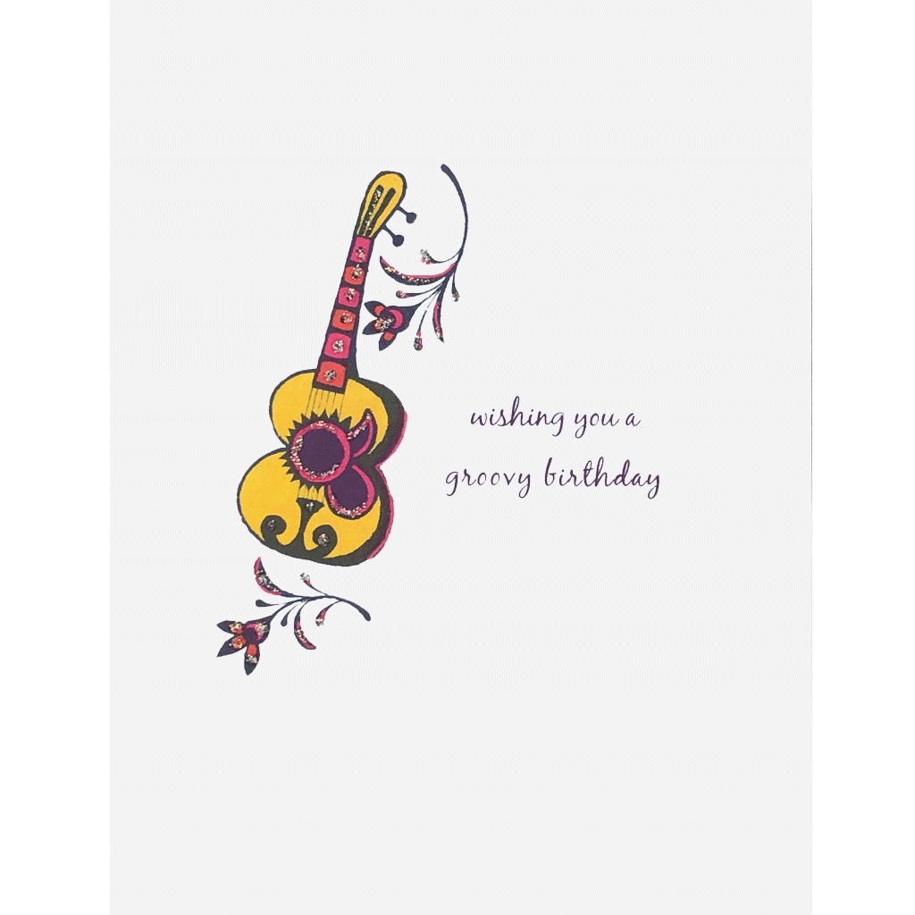 Groovy Guitar Birthday Card. Hand glittered. Made in USA