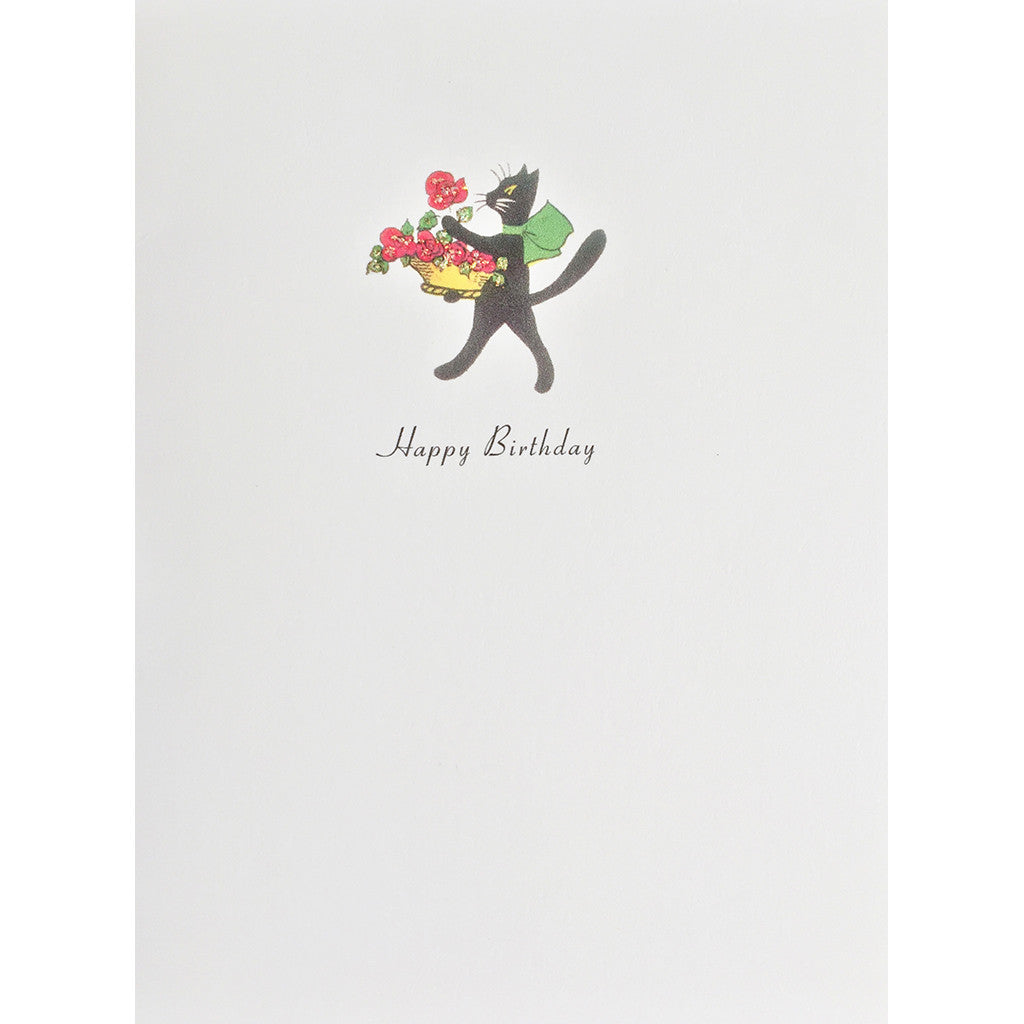 Greeting Card Cat with Roses - Lumia Designs