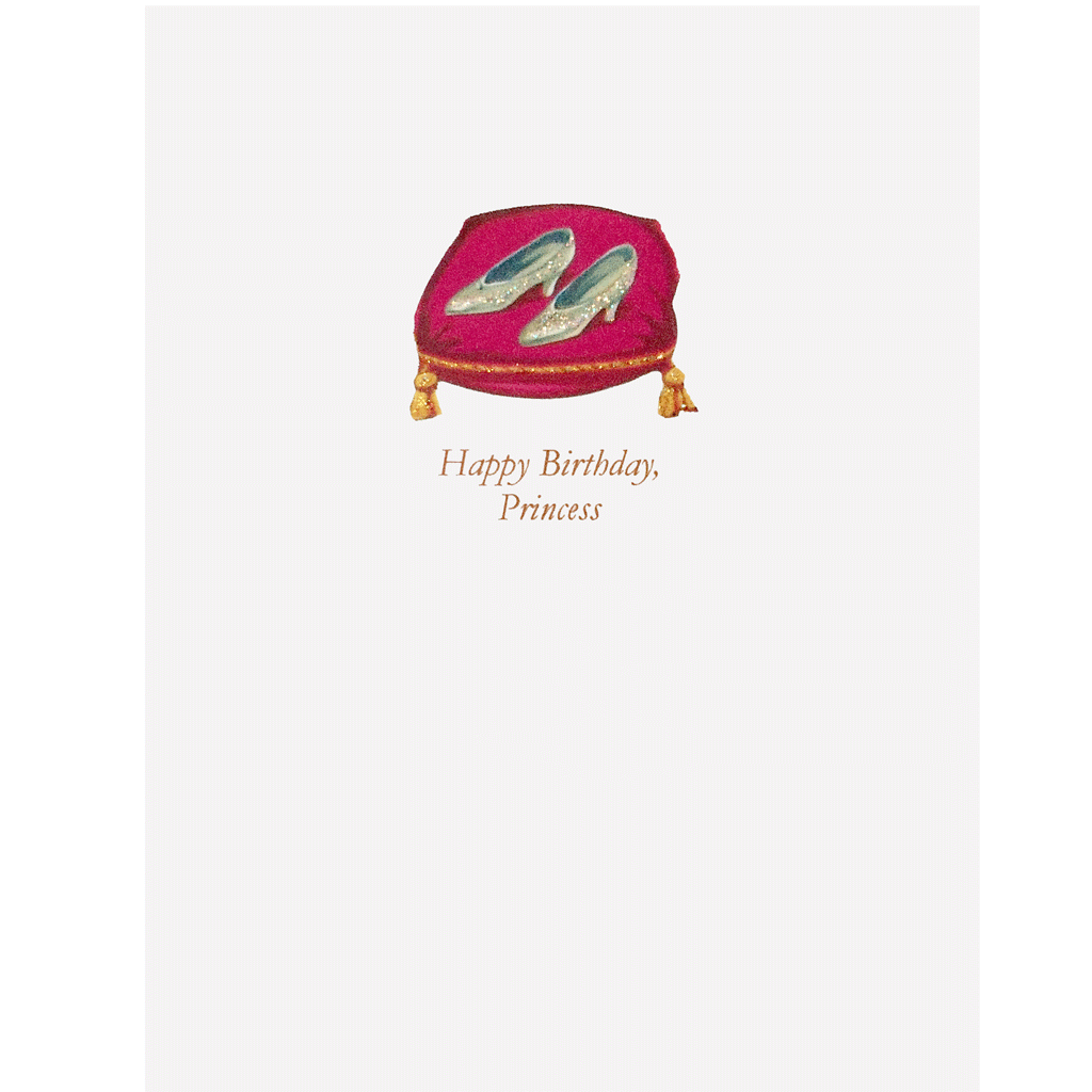 Glass Slippers Birthday Card- hand glittered. Happy Birthday, Princess - made in USA